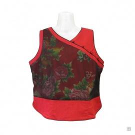 Gilet SHANGHAi pivoines & phoenix rouge voilé en coton