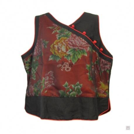 Gilet SHANGHAi pivoines & phoenix noir voilé en coton