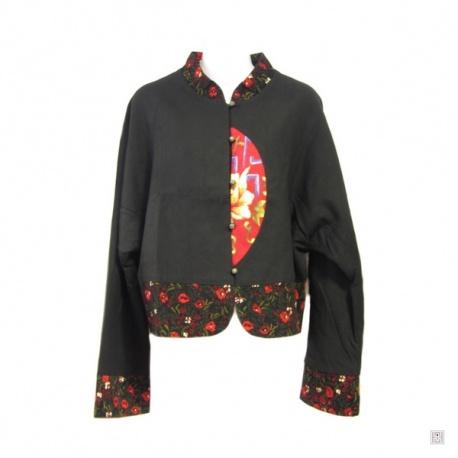Veste courte noire DEMi-LUNE rouge brodé en coton