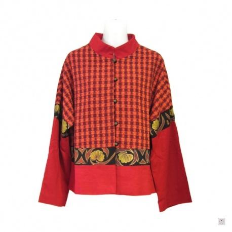 Veste rouge motifs noirs et or en coton