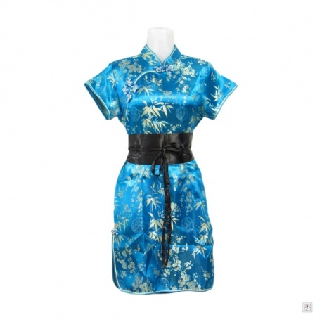 Robe chinoise (qipao 旗袍) courte manches courtes BLEU TURQUOiSE motif 3 AMiS OR (50% soie & 50% polyester)