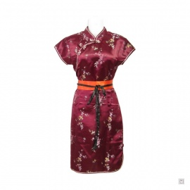 Robe chinoise (qipao 旗袍) courte manches courtes BORdEAUX motif 3 AMiS (50% soie & 50% polyester)