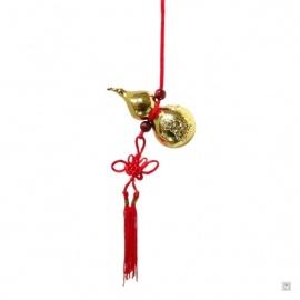 Amulette (葫芦 : santé et protection) wulu en métal doré (h8cm)