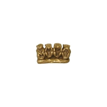 4 singes en résine doré (h6cm)