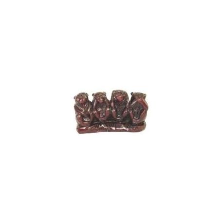 4 singes en résine marron (h6cm)