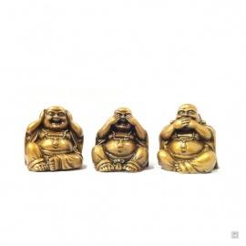 3 sages Hotei résine doré (h7cm)