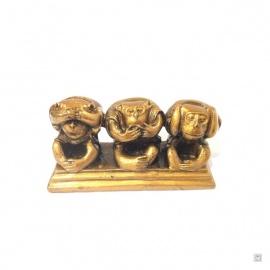 3 singes sur socle en résine doré (h5.5cm)