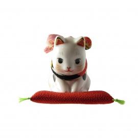 Maneki Neko SALUTATiON en porcelaine japonaise (h5cm)