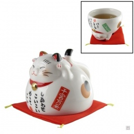 Chat-tasse MANEKi NEKO 招き猫 en porcelaine japonaise