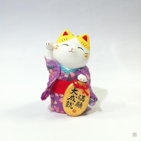 Maneki Neko YUKATA violet en argile blanche (h10cm)