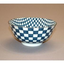 Bol à soupe BLUE MiX ichimatsu en porcelaine japonaise (d15.5cm)