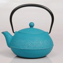 Théière VAGUES en fonte japonaise (0.60L) turquoise
