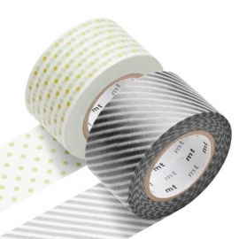 masking tape 2P WiDE stripe silver x dot gold (stries argentées x pois dorés) 30mm*10m (x2)