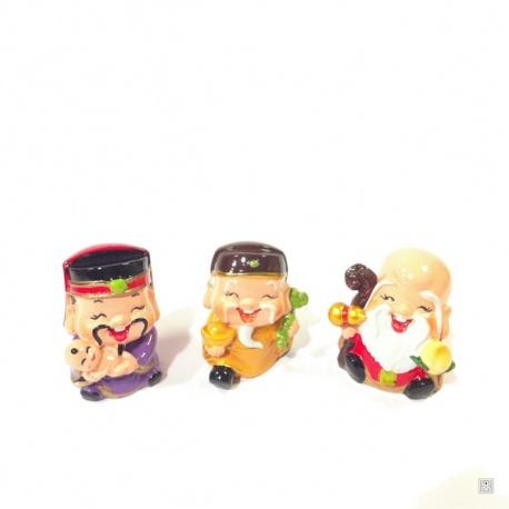 3 bonheurs KAWAii en résine polychrome peints à la main (h5cm)