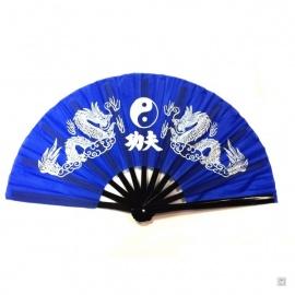 Eventail de kung-fu & tai-chi bois DOUBLE DRAGONS bleu