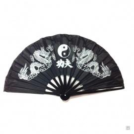 Eventail de kung-fu & tai-chi bois DOUBLE DRAGONS noir