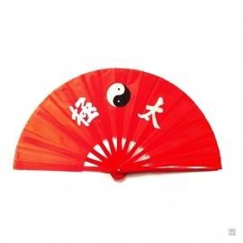 Eventail de kung-fu & tai-chi bois YiN-YANG rouge