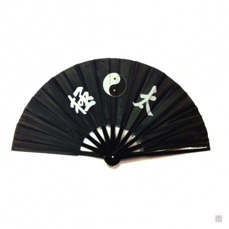 Eventail de kung-fu & tai-chi bois YiN-YANG noir
