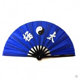 Eventail de kung-fu & tai-chi bois YiN-YANG bleu