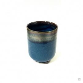 Mazagran en porcelaine émail bleu (h8.5cm)