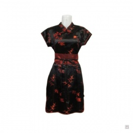 Robe chinoise (qipao 旗袍) courte manches courtes NOiRE motif 3 AMiS ROUGE (50% soie & 50% polyester)