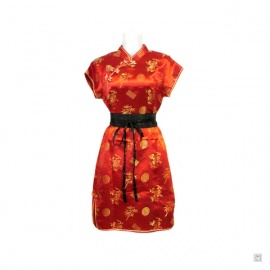 Robe chinoise (qipao 旗袍) courte manches courtes ROUGE motif 3 AMiS OR (50% soie & 50% polyester)