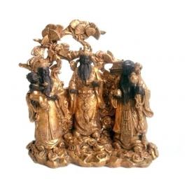 3 Bonheurs en résine noir et or (h17cm)