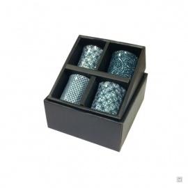Coffret 4 tasses à saké en porcelaine blanc-bleu GéO