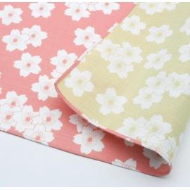 Furoshiki 風呂敷 SAKURA rose / vert anis 100% coton (104x104cm)
