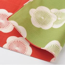 Furoshiki 風呂敷 UME rouge / vert 100% coton (104x104cm)