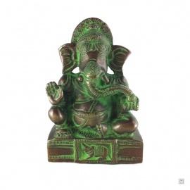 Ganesh assis sur socle en laiton couleur bronze et vert de gris (h11.5cm)