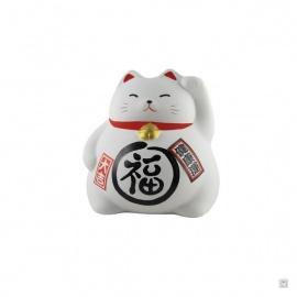 Tirelire Maneki neko DODU en argile blanche BLANC (Bonheur)