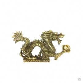 Dragon impérial sur socle nuage en cuivre (L13cm)