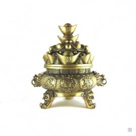Encenssoir lingots et pièces en cuivre (h17cm)