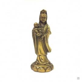 Kwan Yin debout sur lotus en cuivre (h7.5cm)