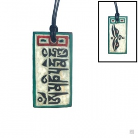 Pendentif OM MANi PADME HUM rectangulaire en pierre (h4.5cm)