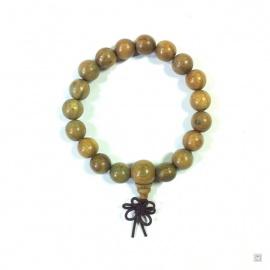 Bracelet mālā en bois vert olive 18 perles de 10mm