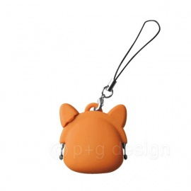 Porte-monnaie strap mimi POCHi-Bit CHAT en silicone orange