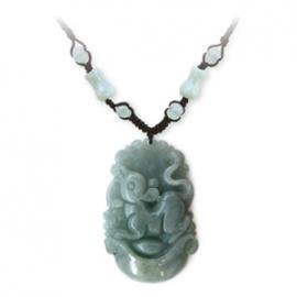 Pendentif ZODiAQUE ChiNOiS en jade aventurine (Souris / Rat) h3.5cm