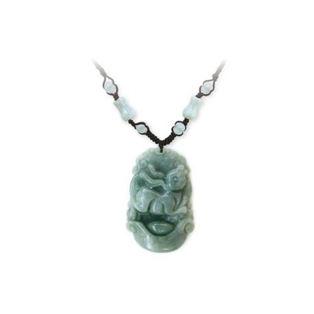 Pendentif ZODiAQUE ChiNOiS en jade aventurine (Lapin / Lièvre) h3.5cm