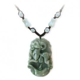 Pendentif ZODiAQUE ChiNOiS en jade aventurine (Chèvre) h3.5cm