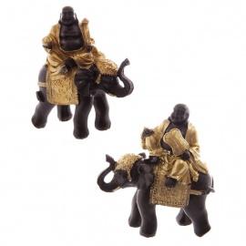 Bouddha Hotei sur éléphant en résine noir et or (h11cm)