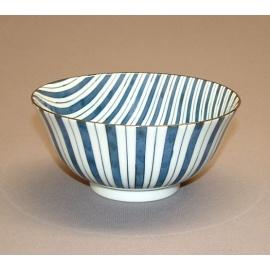 Bol à soupe BLUE MiX lignes en porcelaine japonaise (d15.5cm)