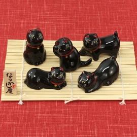 Porte-baguette MANEKi NEKO noir en porcelaine