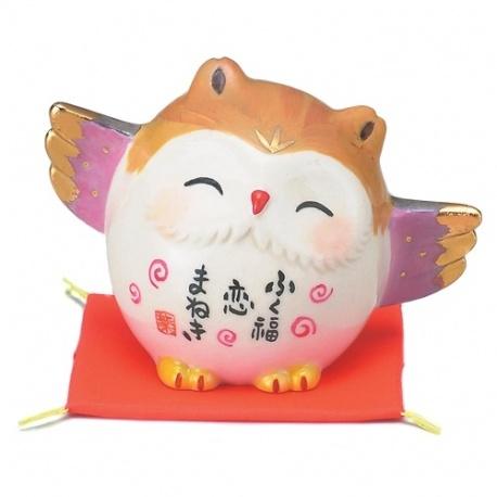 Chouette en porcelaine japonaise AMOUR (h5cm)