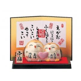 Couple chouettes en porcelaine japonaise COEUR (h5cm)