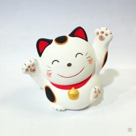 Maneki neko EN FORME en argile blanche 10cm