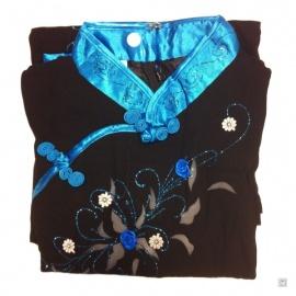 Ao-dai croisé enfant noir manches longues BRODé FLEURS turquoise