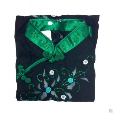 Ao-dai croisé enfant noir manches longues BRODé FLEURS vert foncé