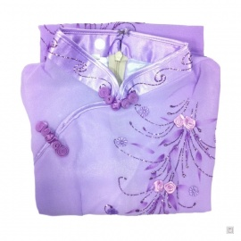 Ao-dai croisé enfant violet manches longues BRODé FLEURS